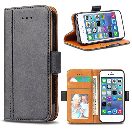 Bozon iPhone 5S Hülle, iPhone SE Hülle, iPhone 5 Hülle, Leder Tasche Handyhülle Flip Wallet Schutzhülle für iPhone 5/ SE/ 5S mit Ständer und Kartenfächer/Magnetic Closure (Dunkel-Grau)