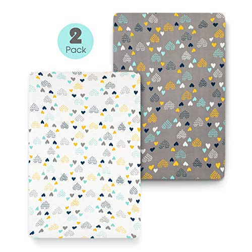 Best Deals! COSMOPLUS Stretch Fitted Pack n Play Playard Sheets - 2 Pack for Mini Crib Sheet Set,Pac...