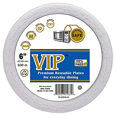 VIP Plates (TM) - 6 Inch Plastic Plates - Microwave Safe, Styrene Free and Completely Crack Resistant