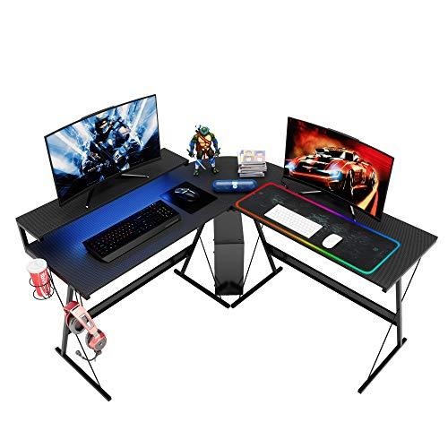 BestierL-Shaped Led Gaming Computer Desk,RGB Strip Light Modern Corner PC Laptop Desk Study Table Workstation Home Office Desk with Large Elevated Ergonomic Shelf Carbon Black