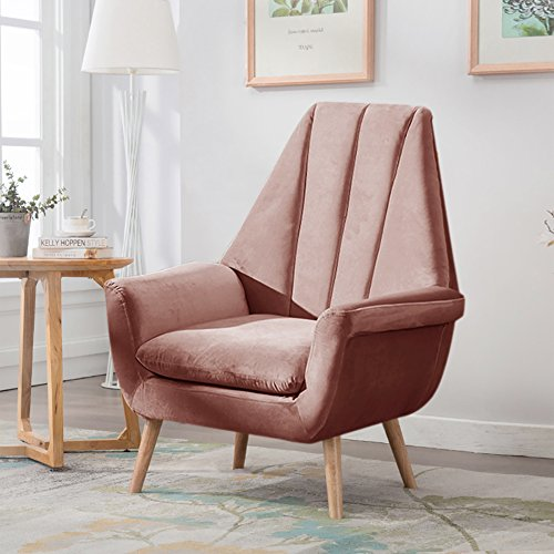 Warmiehomy Modern Velvet High Wing Accent Chair Bedroom Living Room Armchair Occasional Chair with Solid Wooded Legs (Grey Pink)