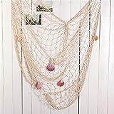 Biutee Dekoration Fischnetz mit Muscheln Maritime Deko Beach deko 150cm*200cm(WT) - 2