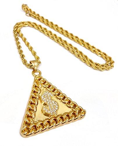 18K chapado en oro cadena de dólar símbolo Triángulo medallón colgante de acero inoxidable collar con cuerda de 24'