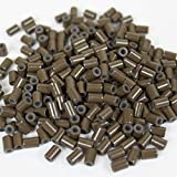HAIR DE VILLE Silicone Lined Copper Micro Tube Rings Links Beads Linkies For I Tip Stick Glue Feather Hair Extensions (500 PCS 3.5mm, Brown)
