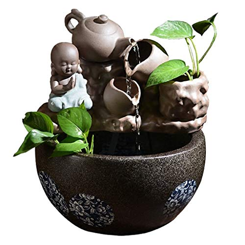 Home Desktop Ceramic Small Monk and Tilting Teapot Water Fountain Decoration Indoor Fountains Feng Shui Bonsai Humidifier Tabletop Fountains (Size : 2936cm)
