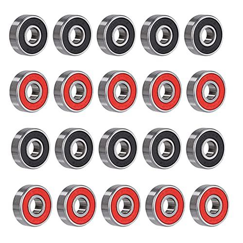 Rodamientos de Bolas Cojinetes de Ranura Profunda 608RS Doble Sellado Rodamientos para Longboard Scooters Patinetas 8 X 22 X 7mm Negro y Rojo 20 Piezas