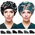 2 Pack Bouffant Caps with Button and Sweatband, Adjustable Working Hats for Women Men, One Size Working Head Cover (Flamingo + Green Pineapple)