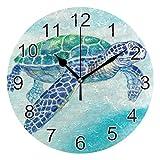 Gokruati Reloj de Pared silencioso,Reloj de Cocina,Relojes de Cuarzo silencioso Que no Hace tictac,para Sala de Estar,dormitorios,(Diámetro: 25 cm),Tortuga Marina Pared Azul mar Animal Mosca