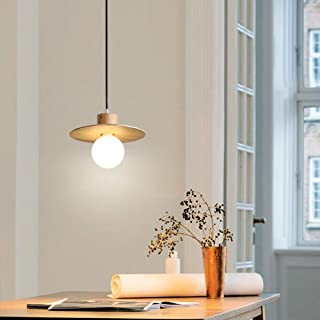 Wood Grain Pendant Ceiling Light Nordic Modern Simple Solid Wood Chandelier, Saucer Shape Lampshade European E27 Hanging Lamp, Decoration Ceiling Lighting Fixture for Dining Room Kotchen Island
