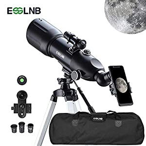 ESSLNB Telescope 80/400 Telescopes for Astronomy Adults Kids Beginners with 10X Phone Adapter Adjustable Tripod 3X Barlow Lens Carrying Case and Moon Filter