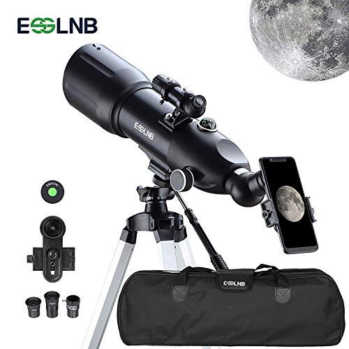 ESSLNB Telescopio 80/400 Telescopio Astronomico Professionale con 80 mm Lente Completamente Rivestita Adattatore Telefonico 10X Treppiede Regolabile Lente Barlow 3X Borsa e Filtro Lunare