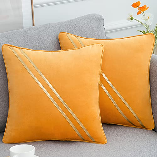 2 Piezas Fundas para Cojines de Almohada del Sofá Cubierta Suave Funda de Almohada Cuadrado Lujo Mostaza Amarilla Empalme con Dorado Cuero Rayas,45 x 45 cm(18 x 18 Inch)