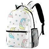 Mochila de viaje con diseño de unicornios y estrellas para la escuela, mochila de viaje informal para mujeres, adolescentes, niñas y niños