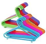 ilauke 60 Pack Plastic Children's Clothes Hangers Colourful Plastic Coat Hangers for Kids Clothes with Skirt Trouser Bar (28.5cm x 17.5cm)