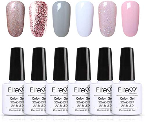 Elite99 Smalto Semipermanente per Unghie 6pzs Set di Smalti Gel gel Semipermanente Unghie Kit da UV LED Smalto per unghie Smalti Gel Polish per Unghie Soak Off Manicure,10ML ZH001