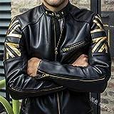 BJHIOJ Chaqueta De Moto para Hombre Vintage Cafe Racer Retro Biker Casual Standing Collar Faux Leather Slim Fit Printing Coat,Negro,XXL