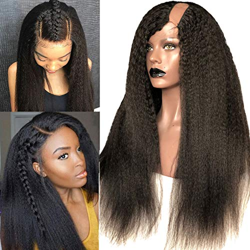 Rossy&Nancy Brazilian Virgin Human Hair Lace U Part Wig Kinky Straight Natural Black Color Left U Part Half Wigs for African Americans Black Women Italian Yaki 150% High Density 18inch