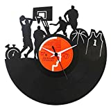 Vinyluse Orologio in Vinile 1 Basket NBA Orologio in Vinile Originale, Nero