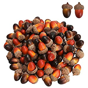 Udefineit 100PCS 3cm Artificial Mini Acorns, Fake Fruit Props Lifelike Oak Nut Plants Model Craft for Home Kitchen Table Decor, Thanksgiving Halloween Christmas Festival Decorative Ornaments (2 Pack)