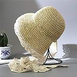 Sombrero Lazo de la playa del sombrero de paja Mujer de la mano de Verano gancho del sombrero de paja del sombrero del cordón del Mar Alquiler de vacaciones parasol del sol del sombrero sombrero de Pa