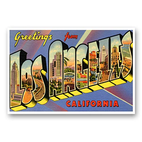GREETINGS FROM LOS ANGELES, CA vintage reprint postcard set of 20 identical postcards. Large letter Los Angeles, California city name post card pack (ca. 1930's-1940's). Made in USA.