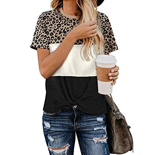 PPangUDing T-Shirts Damen Sommer Sexy Leopard Printed Rundhals Kurzarm Slim Fit Pullover Oberteil Blouse Sweatshirt Streetwear, Frauen Täglichen Casual Wild Sweatjacke