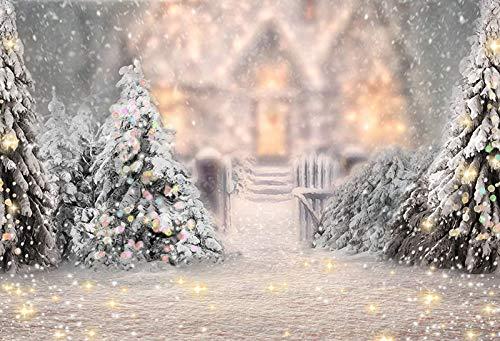 WaW Fotohintergrund Winter Schneefall Wald Warmes Haus Kinder Weihnachten Stoff Fotografie Kulisse Hintergründe Baby Christmas Studio Fotoshooting 2.2x1.5m