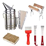HONEY LAKE Beehive Smoker Beekeeping Supplies Tools Set, Included Bee Hive Smoker with 52Pcs Smoker Pellets,Frame Holder Grip/2 Type Hive Tools/Uncapping Fork