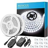 LED Strip Lights 32.8ft, MINGER 6500K Bright White LED Light Strip...