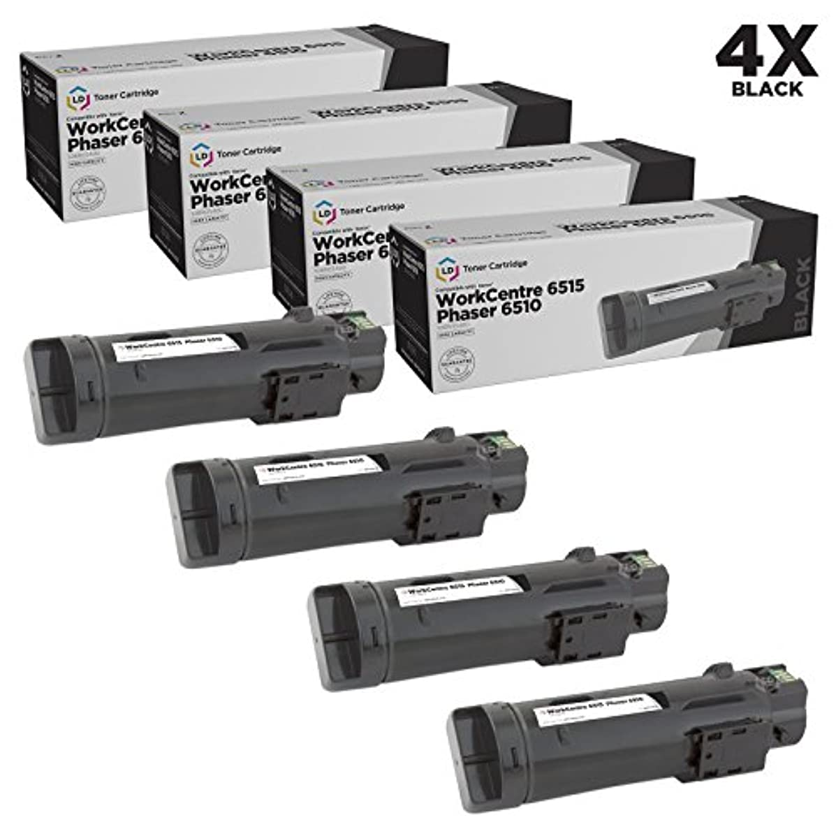 LD Compatible Toner Cartridge Replacement for Xerox Phaser 6510 & WorkCentre 6515 High Yield (Black, 4-Pack)