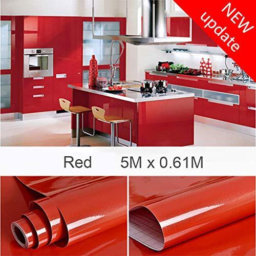 5M*61CM rosso Pellicola adesiva Pellicola autoadesiva decorativa per mobili