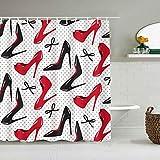 JIOLK Cortina de Ducha Impermeable,Rojo Negro Zapatos de tacón Alto Bowknots Dots,Cortinas de baño de poliéster de diseño 3D con 12 Ganchos,tamaño 180 x 180cm
