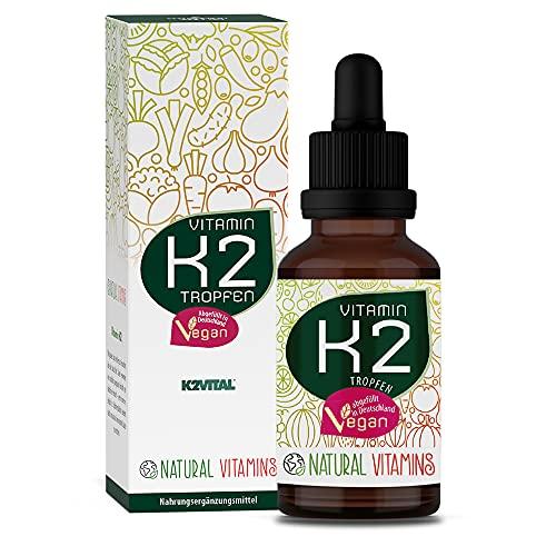 NATURAL VITAMINS® Vitamin K2 MK-7 200 µg I Höchster All-Trans Gehalt 99,7+% (K2VITAL® von Kappa), natürlich fermentiert I 1700 Tropfen (50ml) I Laborgeprüft, Vegan, in Deutschland produziert