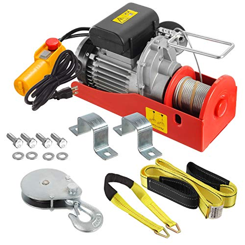 Partsam 440 lbs Lift Electric Hoist Crane Remote Control Power System, Zinc-Plated Steel Wire Overhead Crane Garage Ceiling Pulley Winch w/Straps (w/Emergency Stop Switch)