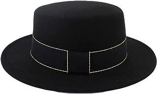 Unisex Wide Brim Wool Felt Flat Top Fedora Hat Party Church Trilby Hats Cap