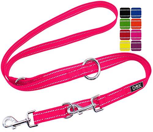 DDOXX Hundeleine Nylon, reflektierend, 3fach verstellbar, 2m | für kleine & große Hunde | Doppel-Leine Zwei Hund Katze Welpe | Schlepp-Leine | Führ-Leine | Lauf-Leine Welpen-Leine | XS, Pink Rosa