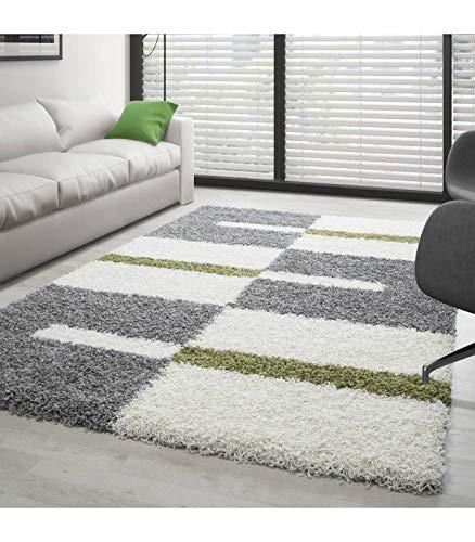 Teppich Hochflor Shaggy Langflor Wohnzimmer Karo Muster Florhöhe 3 cm - Grau-Weiss-Grün, 280x370 cm