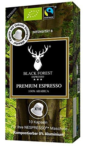 100% Kompostierbare, recyclebare, kompatible Bio Kapseln 60 Stück. Black Forest Premium Espresso. Kompatibel für Nespresso* Maschinen. 0% Aluminium. Grundpreis Kaffeepulver pro 100g: 8,98€