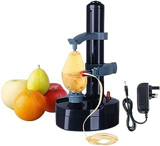 Acero Inoxidable eléctrico eléctrico automático pelador de Frutas y Verduras, máquina de pelar Patatas y Naranja, Herramienta de Cocina giratoria multifunción (Negro)