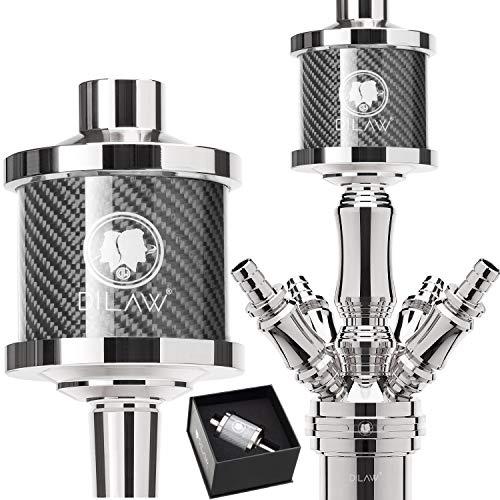DILAW® Shisha DX1 Carbon Molassefänger Edelstahl Wasserpfeife, Vorkühler-Aufsatz für(Schliff 18/8) Zubehör Farbe Grau