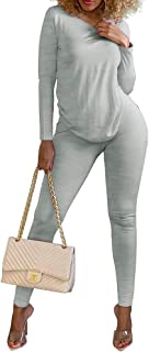 Two Piece Outfits for Women Sexy Tops Casual Bodycon 2 Piece Joggers Set Cute Outfits