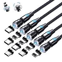 ⚡【Das Neueste Design USB Ladekabel】Reversible magnetische Adsorption macht es einfach,das USB Kabel an den Stecker (Micro-L-Typ C) in der richtigen Richtung zu adsorbieren,bequemer für das Laden überall.3 in 1 Magnet Ladekabel einen niedrigeren Wider...