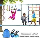 Ninja Warrior Obstacle Course For Kids-Ninja Slackline 2*50Ft - El Kit De Barras De Mono Colgante Más Completo Para Niños,Con Red De Escalada, Rueda Ninja Y Columpio,Entrenamiento De Guerreros Ninja