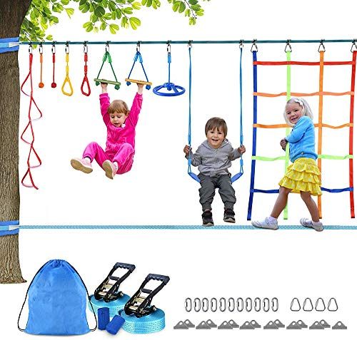 2×50FT Slackline Kinder Ninja Krieger Hindernis Training -Vollständiges Slackline-Set für Anfänger –Slackline Set mit Kletternetz, Ninja-Rad+Schaukel,ideale Aktivität für Kinder und Familien im Freien