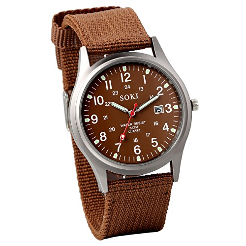 JewelryWe Herren Armbanduhr Kalender LED Licht Canvas Stoff Band Quarz Analog Uhr Kaffee