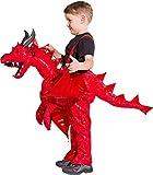 Roter Drache Huckepack Kostüm für Kinder - 3 bis 5 Jahre - Drachenkostüm zum Hineinsteigen Reiten...