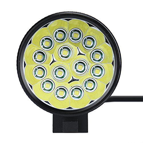 Sayla Scheinwerfer Fahrrad StVZO zugelassen LED Fahrradbeleuchtung LED Fahrradlampe 38000 Lux - Wasserdicht, 3-Modus, CREE XM-L T6, 8,4 V 15000 mAh (Schwarz)