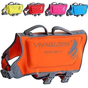 Vivaglory Dog Life Jackets, Premium Skin-Friendly Neoprene Dog Life Vest with Superior Buoyancy and Rescue Handle