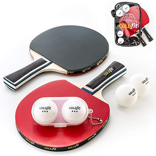 Set Ping Pong da 2 pale e 4 palline da ping pong con custodia porta racchette e astuccio per palline in omaggio, livello intermedio e principiante in puro legno, gomma, spugna e impugnatura ergonomica