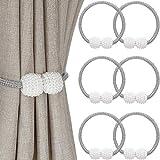 VOSAREA 2 Piezas Perla magn/ética Cortina Tie Backs Cortina Clips con Cuentas Hebilla para decoraci/ón de la Ventana 20 cm, Blanco